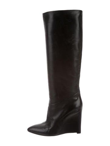 Maison Martin Margiela Leather Wedge Boots None