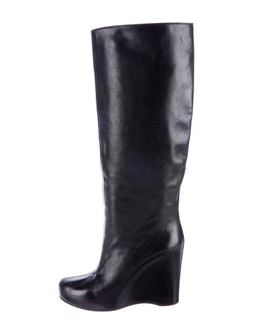 maison martin margiela knee high wedge boots shoes
