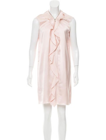 Maison Margiela Ruffle-Trimmed Satin Dress None
