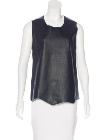 Maison Margiela Leather Sleeveless Top None