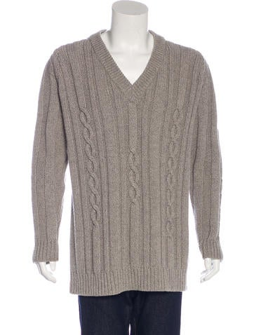 Maison Margiela Cable Knit Wool Sweater None