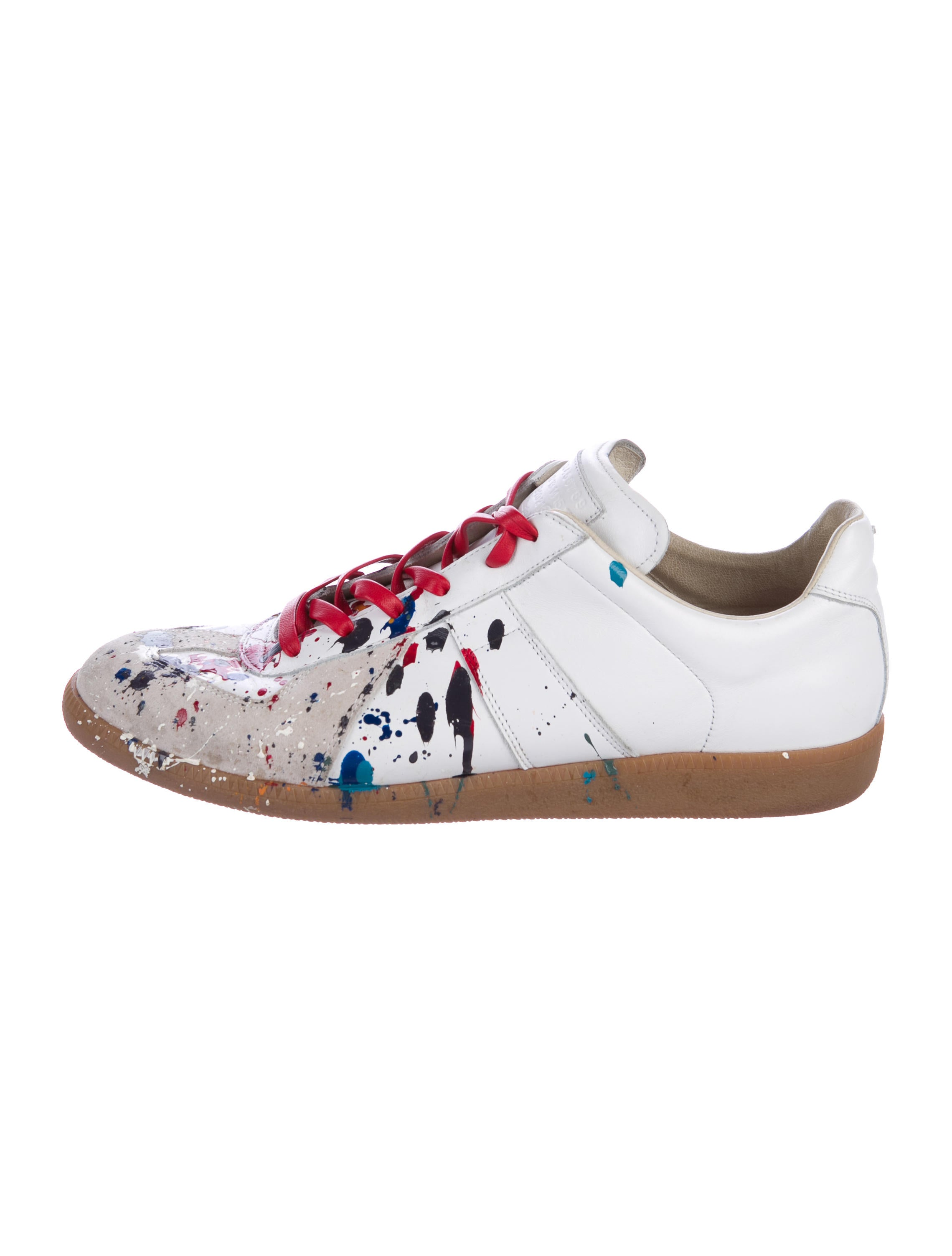 maison margiela replica paint splatter sneakers shoes mai31478 the realreal. Black Bedroom Furniture Sets. Home Design Ideas