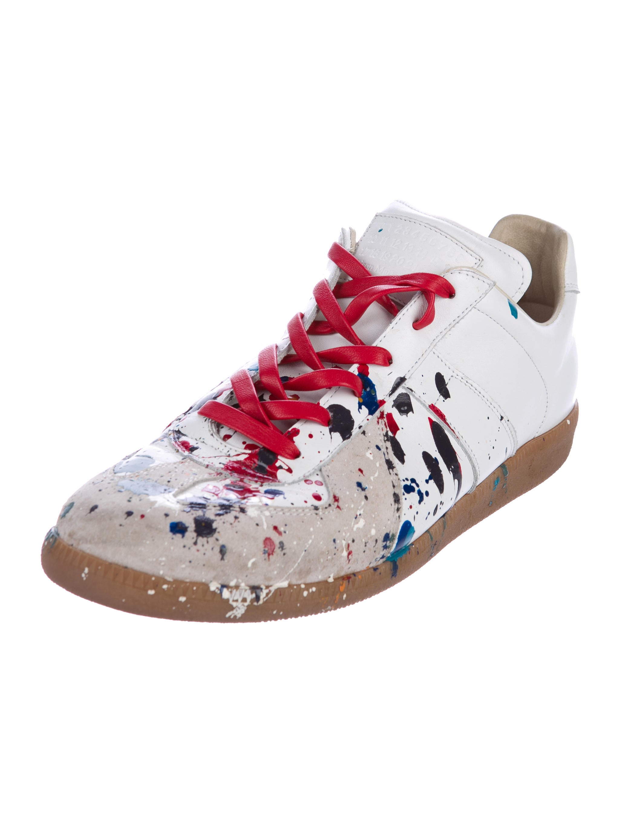 Maison Margiela White Painted Sneakers Sale