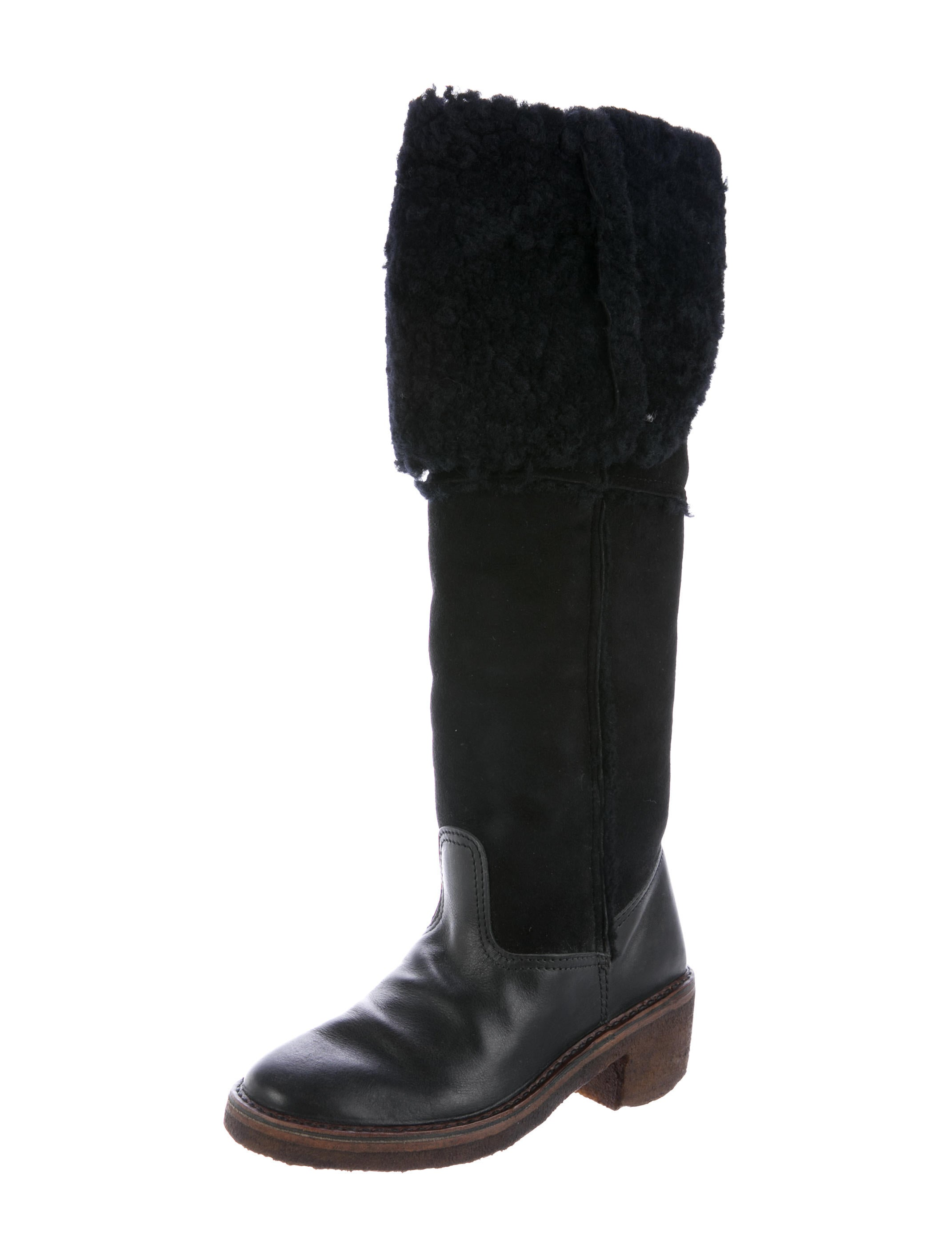 maison margiela shearling knee high boots shoes