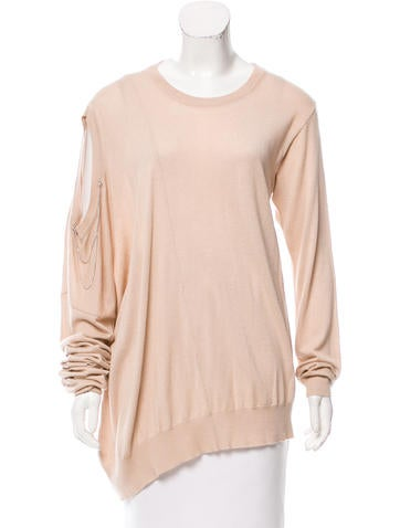 Maison Martin Margiela Asymmetrical Embellished Sweater None