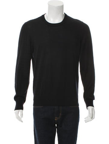 Maison Margiela Leather-Trimmed Crew Neck Sweater None
