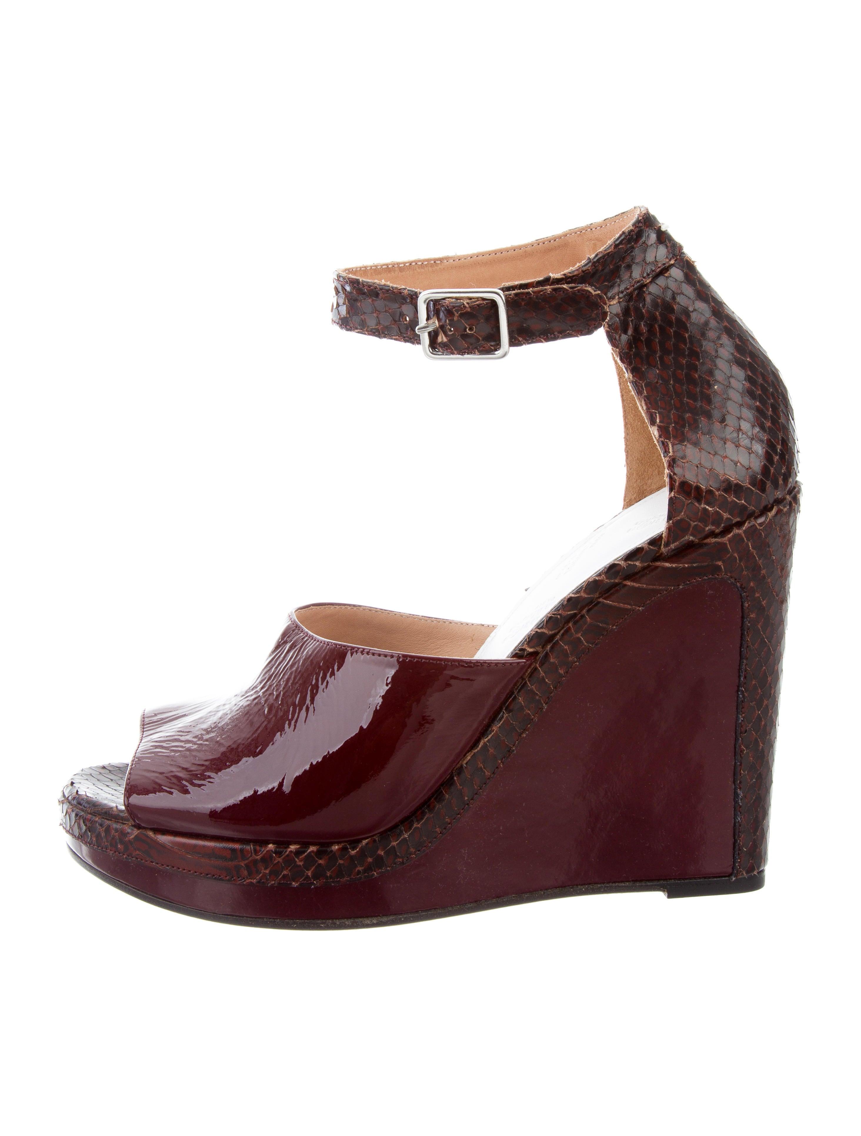 Maison Margiela Woman Leather And Python Sandals Burgundy Size 39 Maison Martin Margiela arf8V