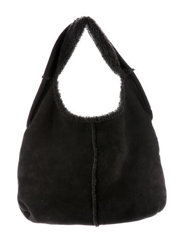 Maison Margiela Shearling-Lined Leather Hobo None