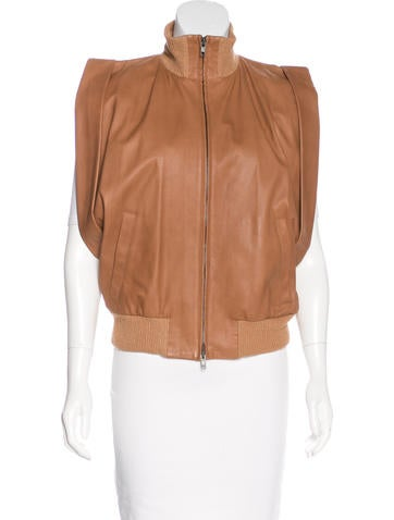 Maison Margiela Rib Knit-Trimmed Leather Vest None