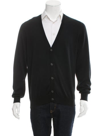 Maison Margiela Leather-Trimmed V-Neck Cardigan None