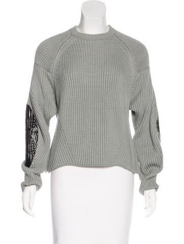 Maison Margiela Elbow-Patched Rib Knit Sweater None