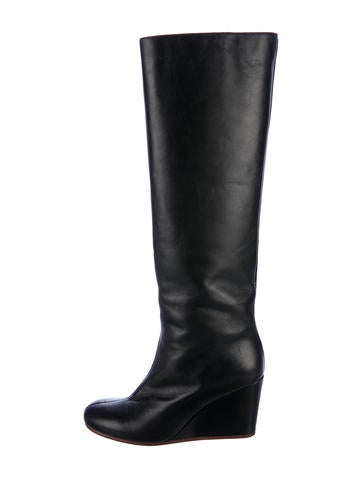 Maison Margiela Leather Knee-High Boots None