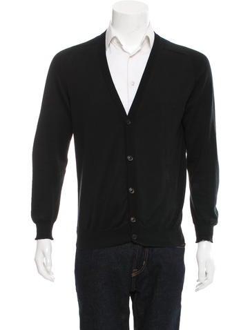Maison Margiela Leather-Trimmed Rib Knit Cardigan None
