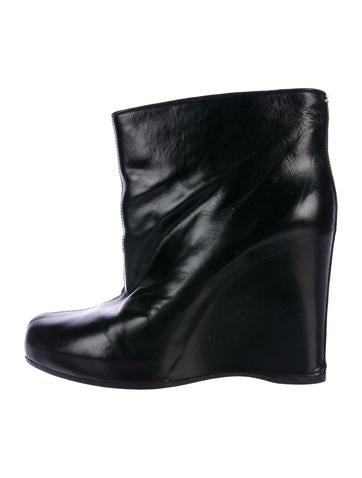 Maison Margiela Leather Wedge Booties None