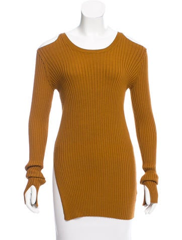 Maison Margiela Ribbed Cold-Shoulder Sweater None