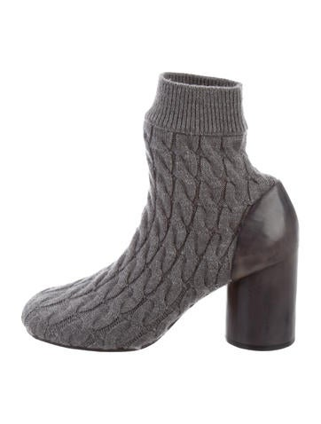 Maison Margiela Knit Round-Toe Ankle Boots None