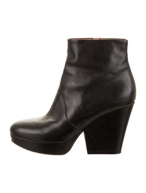 Maison Margiela Leather Platform Ankle Boots Black