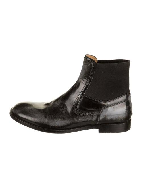 Maison Margiela Patent Leather Round-Toe Boots Bla