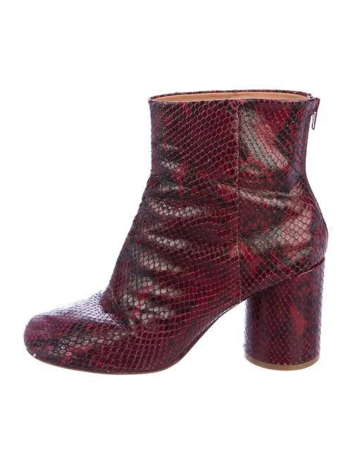 Maison Margiela Snakeskin Ankle Boots Red