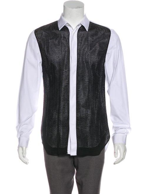 Maison Margiela Mesh-Paneled Woven Shirt white