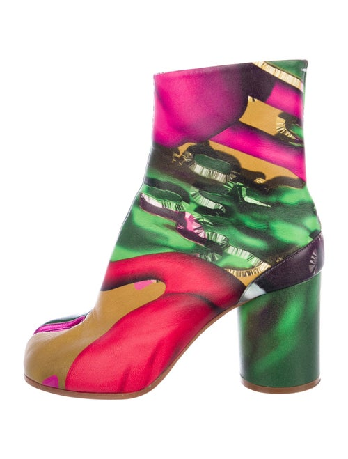 Maison Margiela Leather Printed Boots Green