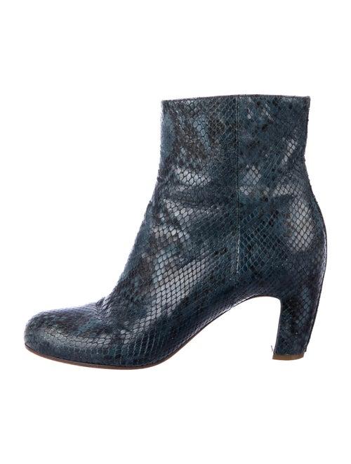 Maison Margiela Snakeskin Animal Print Boots Blue