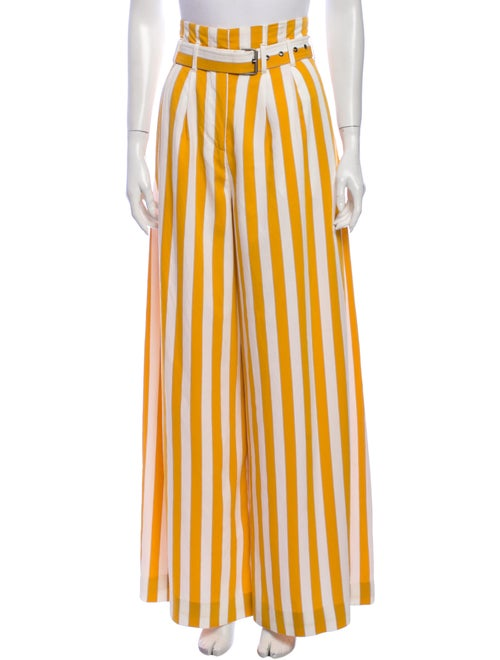 Maison Margiela Striped Wide Leg Pants Yellow