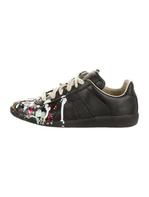 Maison Margiela Leather Printed Sneakers Black