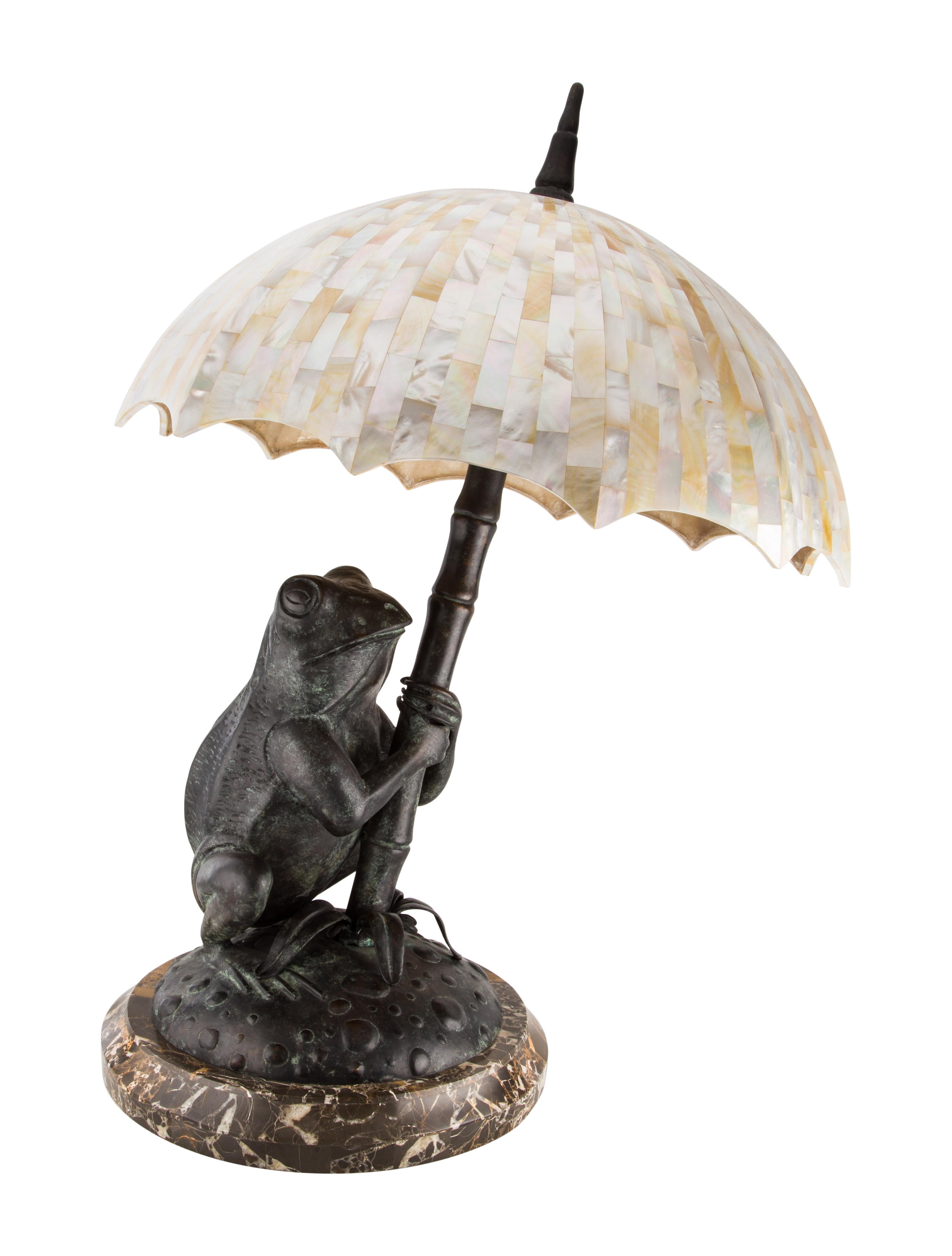 Maitland Smith Brass Frog Table Lamp with Mother-of-Pearl Shade ...