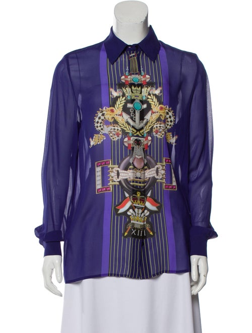 Mary Katrantzou Silk Button-Up Top Purple