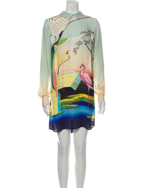 Mary Katrantzou Silk Mini Dress Green
