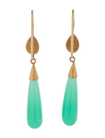 Chrysoprase and Tanzanite Drop Earrings