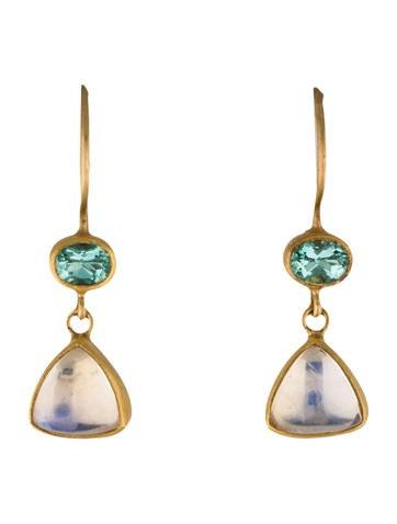 22K Moonstone and Prasiolite Bon Bon Drop Earrings