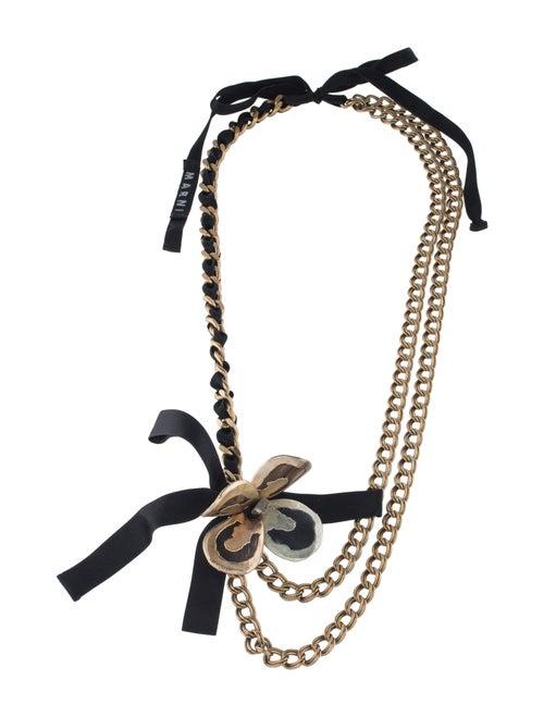 Marni Horn Flower Multi-Chain Necklace Brass