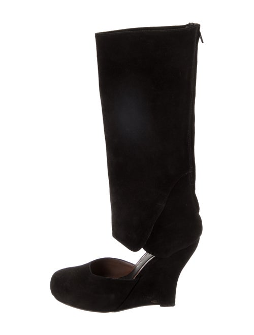 Marni Suede Round-Toe Wedge Boots Black
