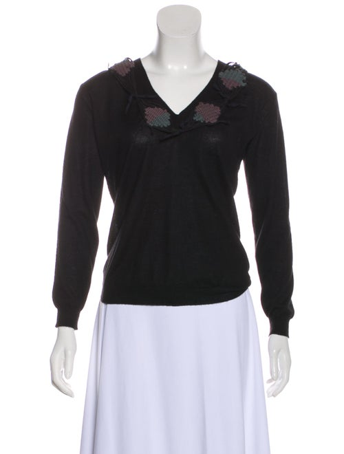 Marni Cashmere Embroidered Sweater Black