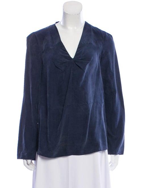 Marni Silk Long Sleeve Blouse blue
