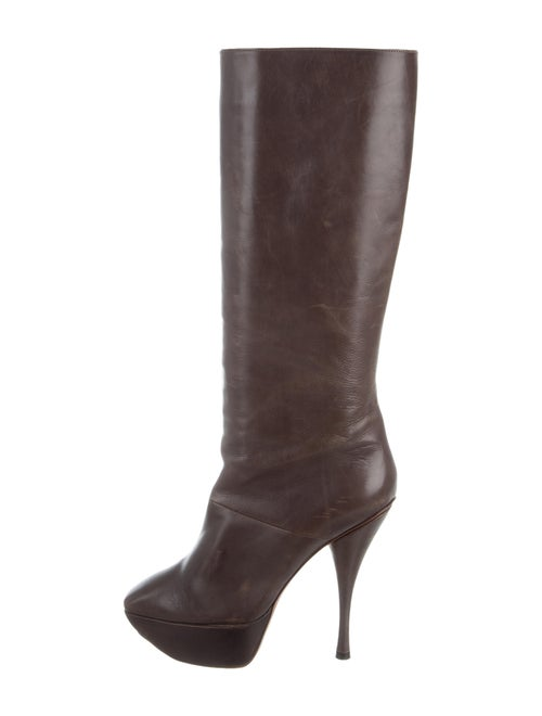 Marni Leather Knee-High Boots Brown