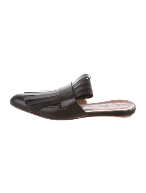 Marni Kiltie Leather Mules Black