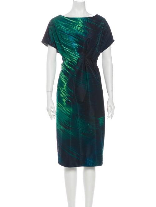 Marni Tie-Dye Print Midi Length Dress Green