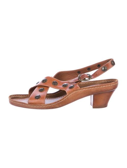 Marni Leather Slingback Sandals Brown