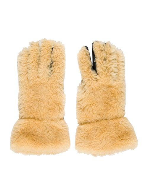 Marni Leather Shearling Gloves Tan