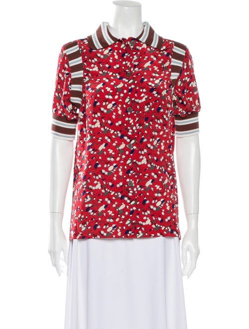 Marni Silk Floral Print Button-Up Top Red
