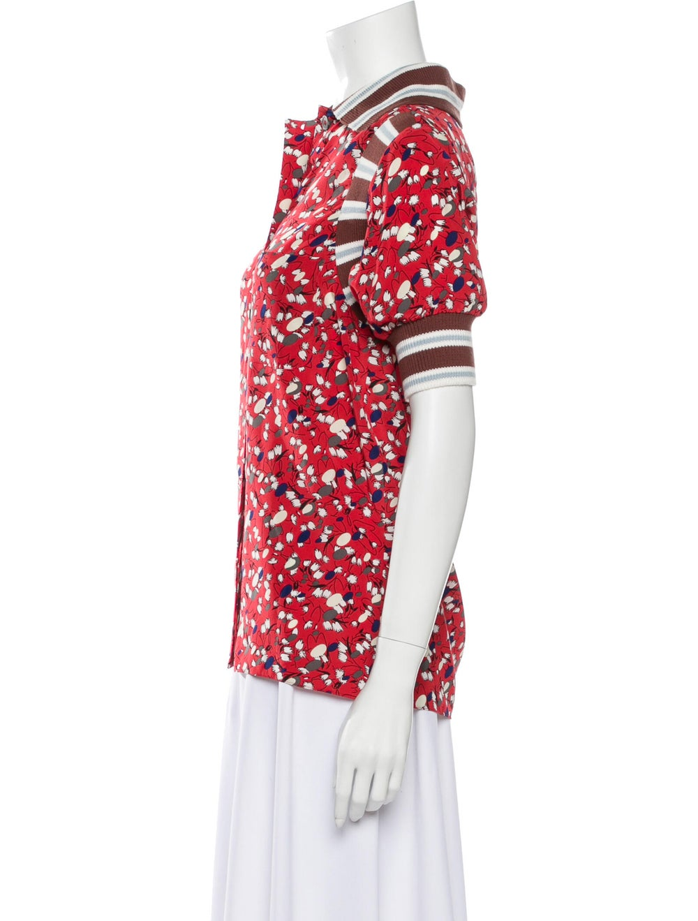Marni Silk Floral Print Button-Up Top Red - image 2