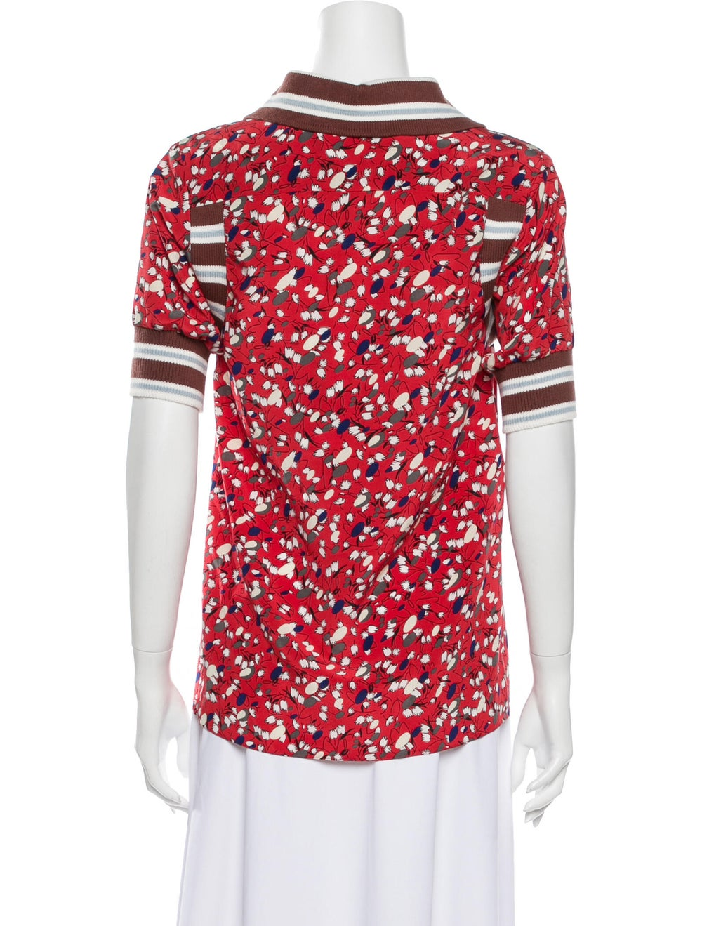 Marni Silk Floral Print Button-Up Top Red - image 3