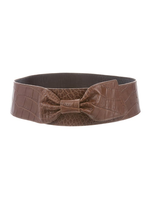 Marni Crocodile Wide Waist Belt Brown