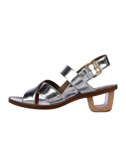 Marni Metallic Leather Ankle Strap Sandals Metalli