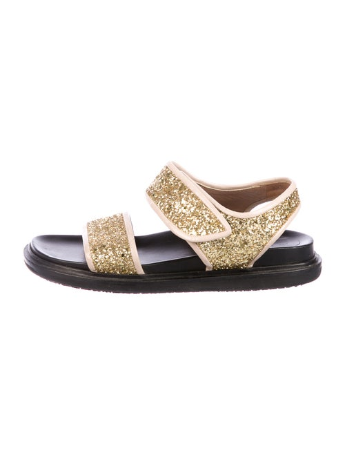 Marni Glitter Ankle Strap Sandals Gold