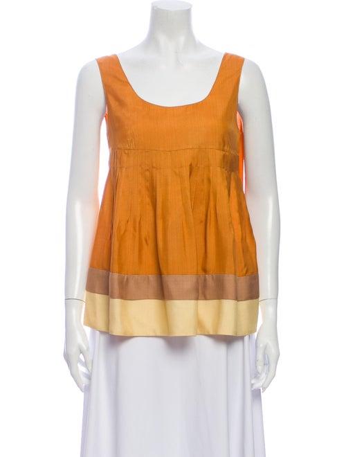 Marni Colorblock Pattern Scoop Neck Top Orange