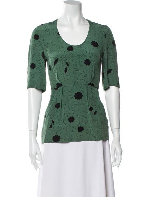 Marni Silk Printed T-Shirt Green